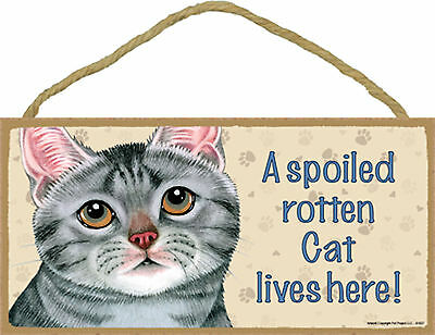 A spoiled rotten Cat lives here! Wood Gray Tabby Kitten Cat Sign Plaque USA Made