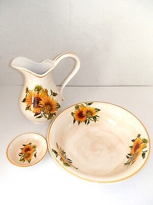 Set TOILET bowl pitcher saucer ceramics MADE IN FLORENCE DECORATION SUNFLOWERS