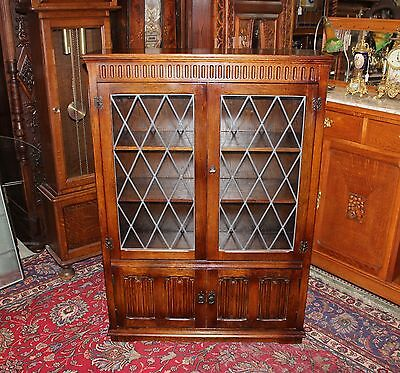 Beautiful English Antique Dark Oak Leaded Glass Bookcase / Display Cabinet .