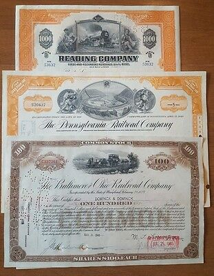 Monopoly Railroads Set 3 Stock certificates Reading Pennsylvania B&O Railroad