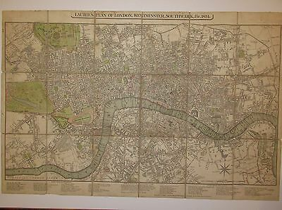 Laurie's Plan Of London, Westminster, Southwark 1824 Antique Map