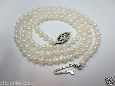 Vtg Cultured Seeds Pearl Necklace 10K Solid W. Gold Diamond Chip Clasp 3mm 17""