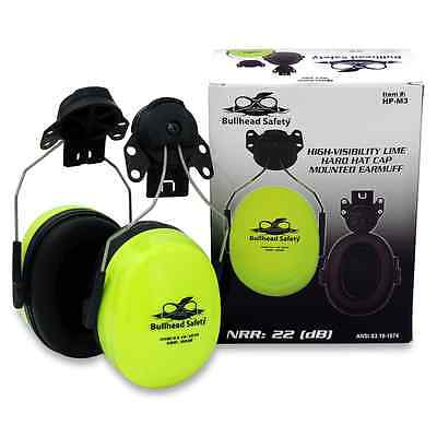 Premium Cap-Mounted Earmuffs NRR 22DB, Hi Visibility, Bull Head Safety, HP-M3