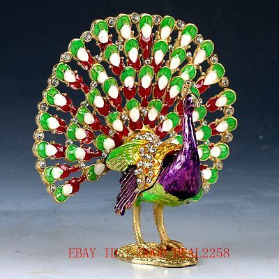 Chinese Cloisonne Hand painted Peacock Statue Box QW0358