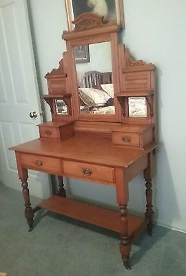 Antique Edwardian Huon Pine Dressing Table  Or Hall Stand  ~  4 Drawers