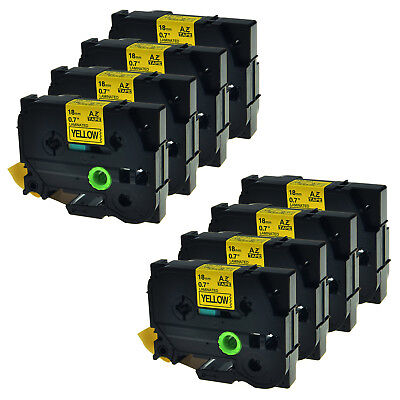 8PK TZ-641 Tze-641 18mm Black on Yellow Label Tape For Brother P-touch PT2730