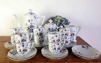 LIMOGES COFFEE SET An Antique French & Cie Floral Porcelain Coffee Set - a536