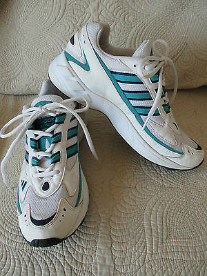 Adidas Athletic Shoes White Turquoise Black Trim Lace-up Tennis Shoe Size 11 M