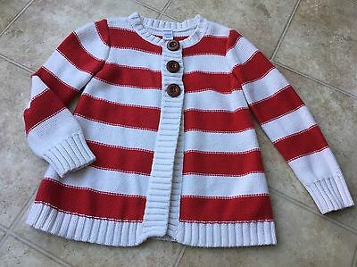 Old Navy Girls Red Ivory Striped 3 Brown Button Sweater Cardigan  4t