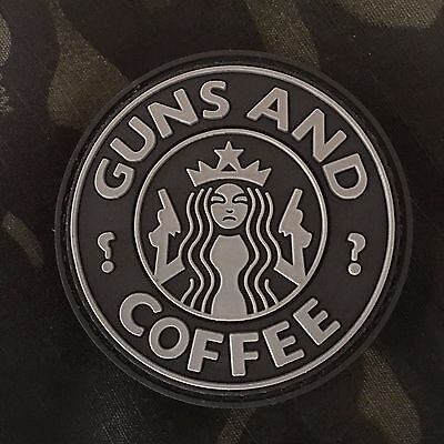 Subdued Guns And Coffee PVC MORALE PATCH