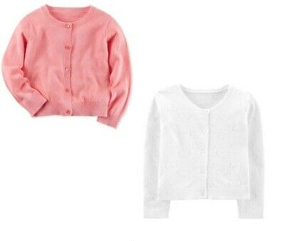 NWT Carters Toddler Girl Dressy Pink or White Spring Cardigan Sweater 2T 3T 4T