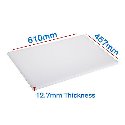 5 x White Chopping / Cutting Board 610 x 457 x 12.7mm Plastic Commercial Grade