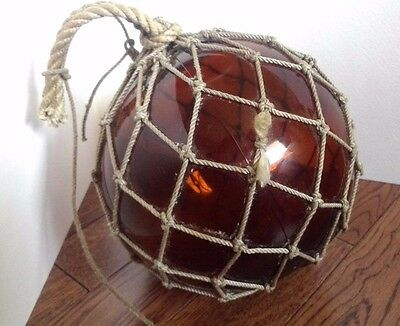 """Vintage Brown Glass Fishing Float Authentic Net Ball with Rope 7"""" Japanese? Ship"""