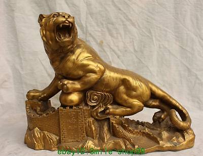 """18"""" Chinese Bronze Animal Fengshui Tigre Up Hill Tiger The Great Wall Statue"""