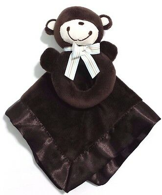 Carters Dark Brown Security Blanket w/ Monkey Rattle Lovey Soft Baby Toy Set NEW