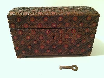 Vintage Carved Wood Trinket Box With Key, Made In Poland