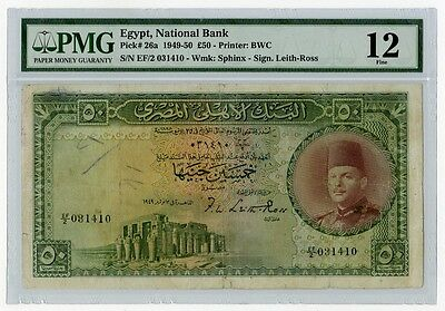 Egypt, 50 Pounds King Farouk 1949 PMG 12 Fine, Signed by Leith Ross - Rare