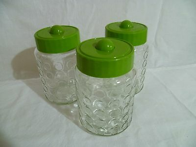 Retro Dimple Glass Jars Bubble X3 Green Lids Canisters Storage Vintage Coffee