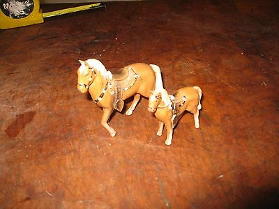 Vintage Metal Cast Painted Horses  Japan Made Set Of 2