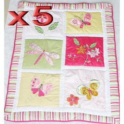 5pc Wholesale Baby Cot Quilt Cotton Patchwork Blanket Butterfly Comforter