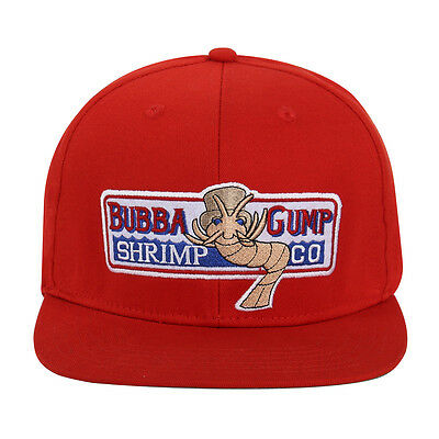 Bubba Gump Shrimp Hat Forrest Gump Embroidered Snapback Cosplay Cap Red New