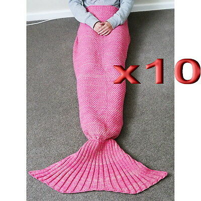 10pc Wholesale Adult Handmade Knitted Crocheted Mermaid Tail Blanket Rug 1.9m
