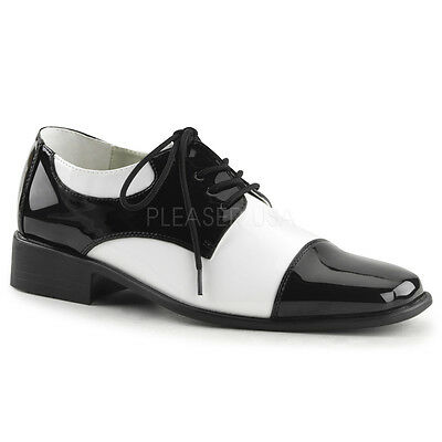Black White 50's Rockabilly Disco Greaser Loafers Men's Mafia Gangster Shoes