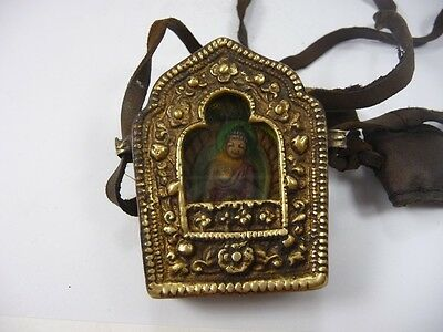 old handwork china tibet collectable copper inlay Buddha amulet pendant ZA159