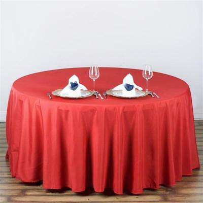 "Red 108"" Seamless Polyester Round Tablecloth ~NEW~ Wedding Party Banquet"