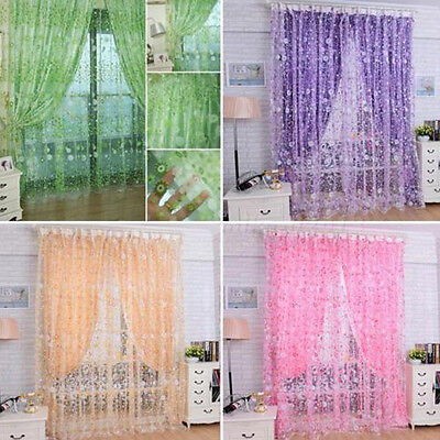 Room Willow Pattern Voile Window Curtain Sheer Panel Drapes Scarfs Curtain