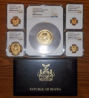 1969 Biafra Gold Proof Set (5) 2nd Anniversary of Independence  NGC