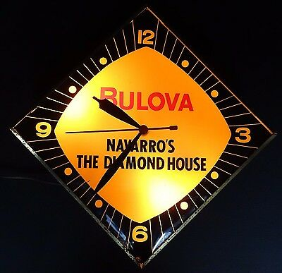 Antique BULOVA NAVARRO'S THE DIAMOND HOUSE  Advertising Lighted CLOCK WORKS