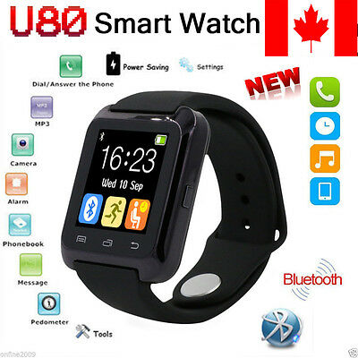 Black U80 Bluetooth Smart Wrist Watch Mate Sport For HTC Android Android Samsung