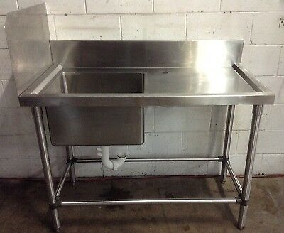 Commercial Kitchen Cafe Restaurant Stainless Single Bowl Sink Preparation Bench