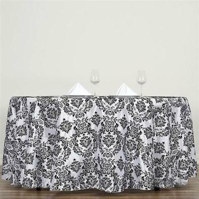 "120"" Black Flocking Damask Tablecloth Wedding Banquet Party Décor"