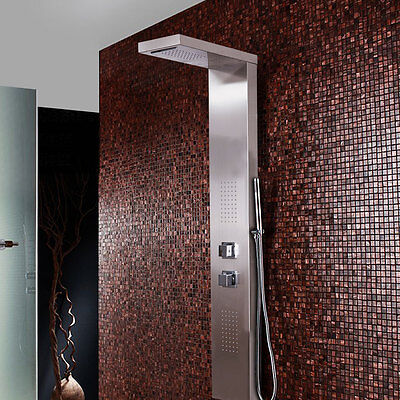 Stainless Steel Thermostatic Shower Panel Square Column Waterfall With Body Jets