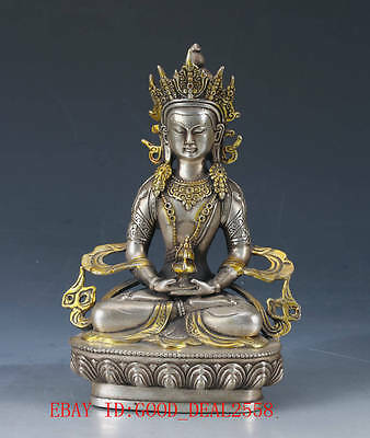 Chinese Silver Copper Hand Carved gold-plated Buddhist Statue of Buddha QW0339