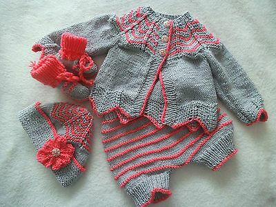 """Hand Knitted Baby Matinee Set Outfit 0 - 3 Months or 20"""" - 22"""" Reborn Baby Doll"""
