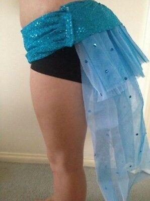 blue showgirl tulle hi lo tail skirt