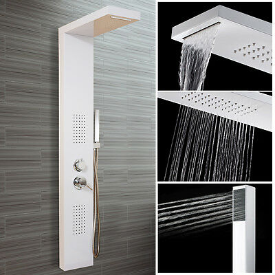 Shower Tower Panel with Hand Shower Waterfall & Massage Jets Rain Column Wall HG