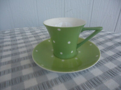 somerton green polka dot cup & saucer retro art deco style