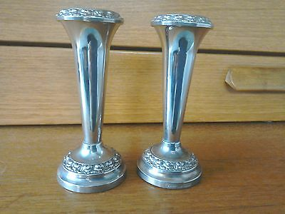 Two silver plated bud vases