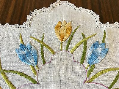 Beautiful Vintage Hand Worked Embroidered Table Doily