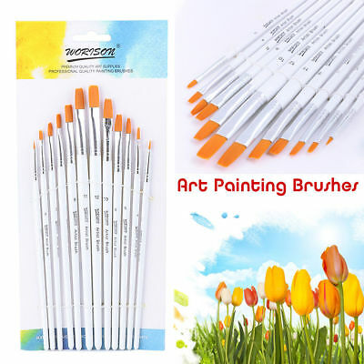 12 x Face Paint Brushes - Round Flat Slant Pointed Tip Set Acrylic Oil Painting