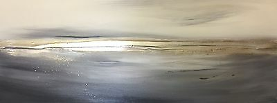 Contemporary Canvas Art. Original Seascape art. Silver & Grey canvas