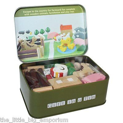 Farm in a Tin Wooden Farmyard Animals Childrens Play Kids Wood Play set Toy