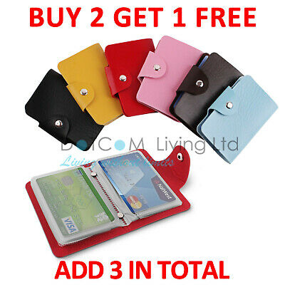 24 Cards Pocket PU Leather Credit ID Business Card Holder Wallet Case Purse