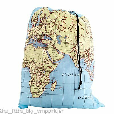 World Map Travel Laundry Bag - Perfect For Jetsetters Everywhere!