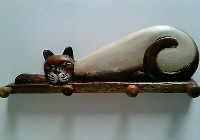 Siamese Cat Hand Crafted Wooden Coat/Wall Rack
