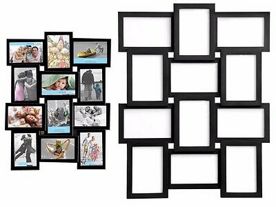 """NEW STYLISH PHOTO PICTURE FRAME HOLDS 12 PHOTOS APERTURE MULTI COLLAGE 4"""" x 6"""""""